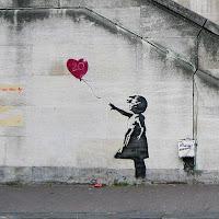 girl with balloon, street art, stencilled mural, graffiti, art, famous art