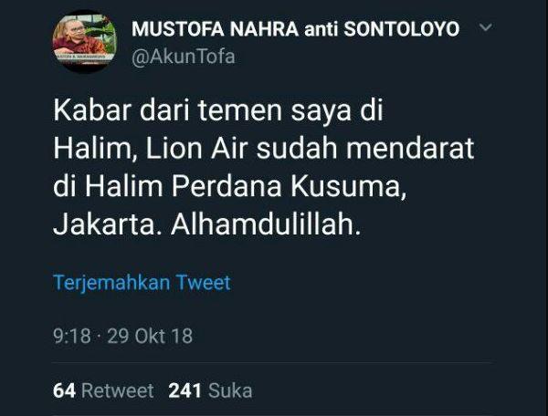 Sempat Cuit Lion Air JT610 Mendarat, Mustofa Nahra Diperiksa Polisi