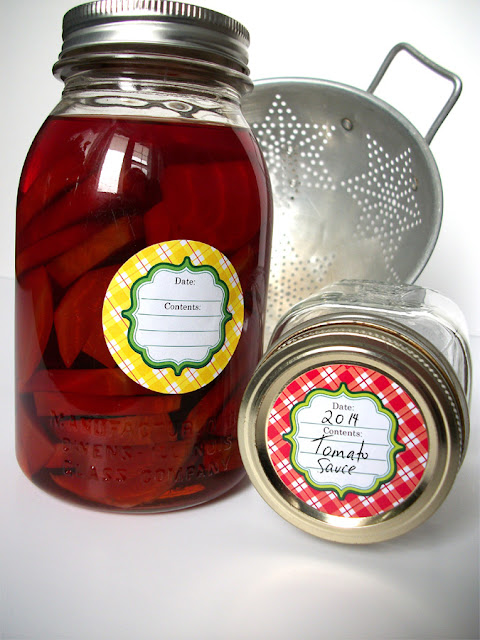 red plaid canning jar labels