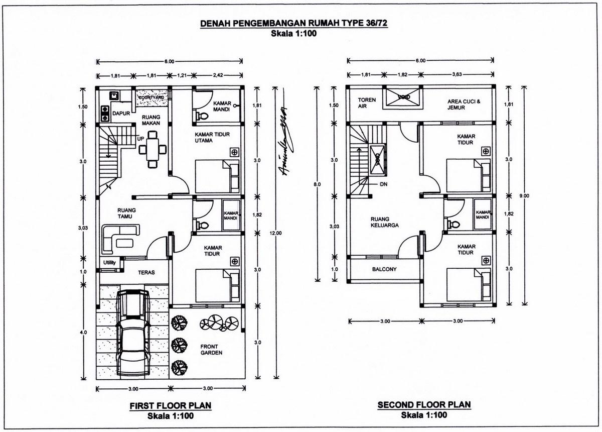 34 Denah Rumah Minimalis 2 Lantai Rumahku Unik
