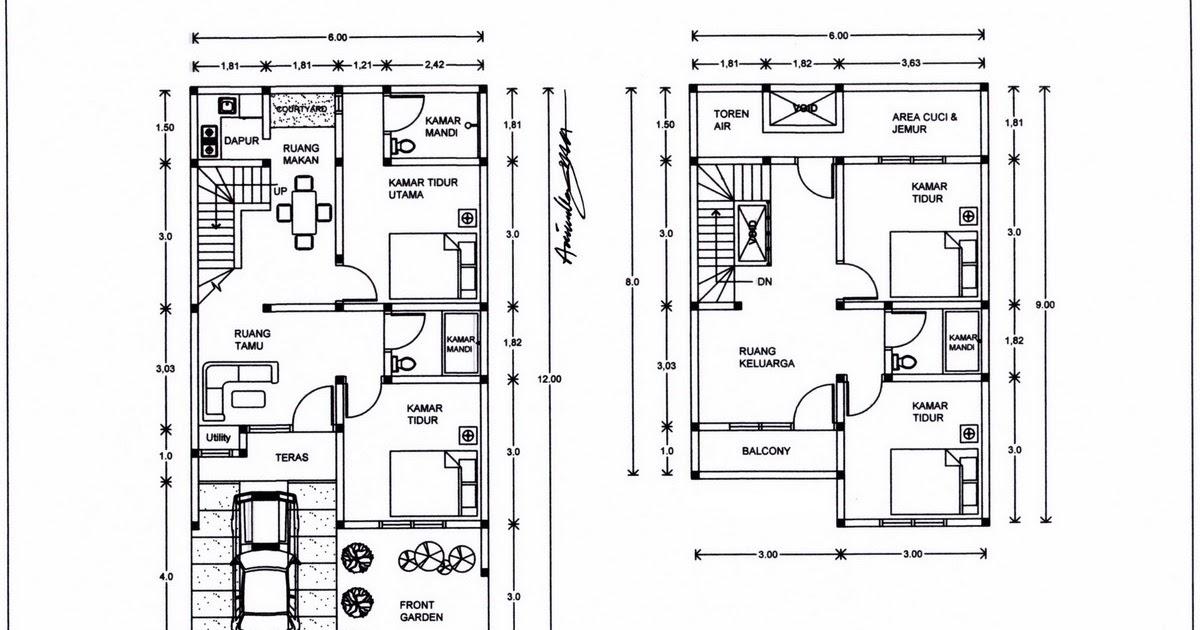 34 Denah Terbaik Rumah Minimalis 2 Lantai
