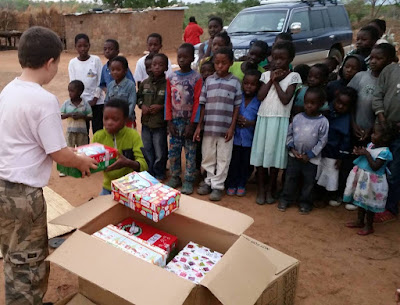 Operation Christmas Child shoebox distribution in Zambia.