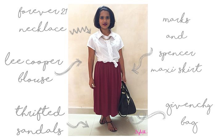 Dayle Pereira the blogger at Style File wore a white shirt and midi skirt with a necklace under the collar, tote bag and thong sandals to the office