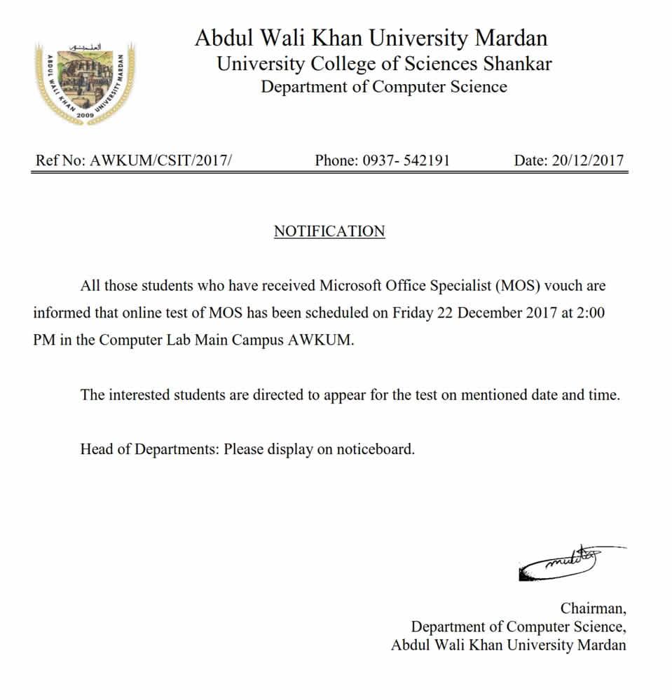 Abdul Wali Khan University Mardan Online Test Of Microsoft Office