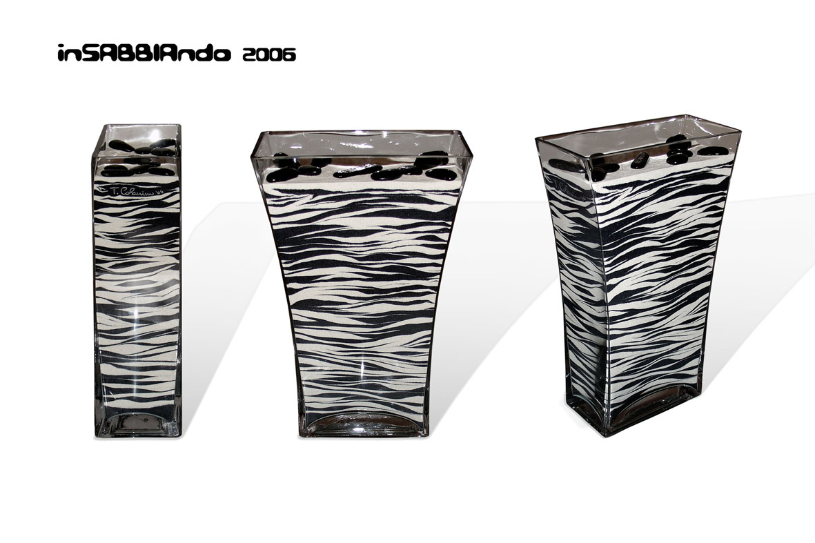Super inSABBIAndo: Sand Art: Zebra, vaso decorato con sabbia colorata. OD02