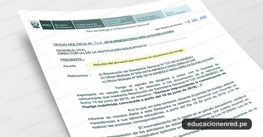 OFICIO MÚLTIPLE N° 268-2018-MINEDU/VMGI-DRELM-DUGEL02/ARH - Relación del personal que incurran en situaciones de huelga - www.ugel02.gob.pe