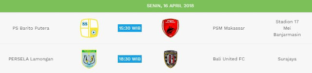 Jadwal Liga 1 Senin 16 April 2018 - Siaran Langsung Indosiar