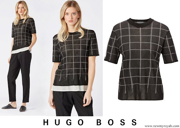 Queen Letizia wore Hugo Boss knitted sweater in tube jacquard