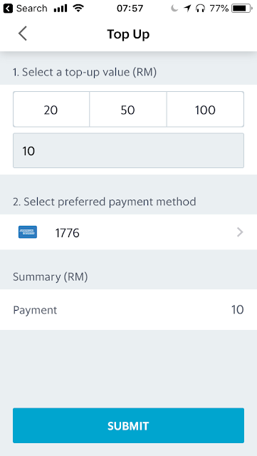 GrabPay top-up via credit card
