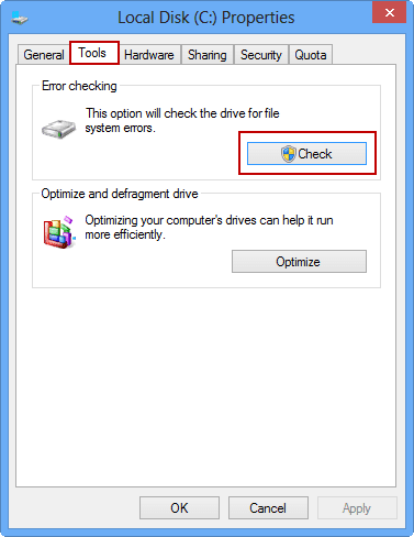 choose to check Windows 8 hard drive
