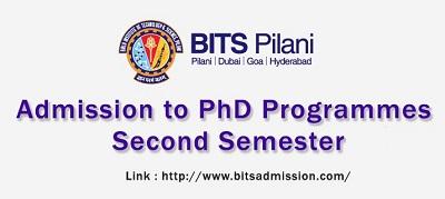 BITS Pilani PhD (Second Sem) Admission 2019