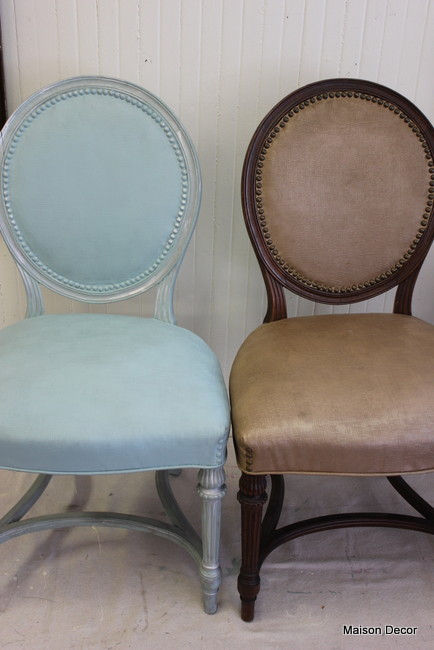 Maison Decor: Painting Chairs~frame And Fabric! And A Lot