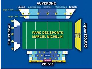 Plan du stade Marcel Michelin de Clermont-Ferrand