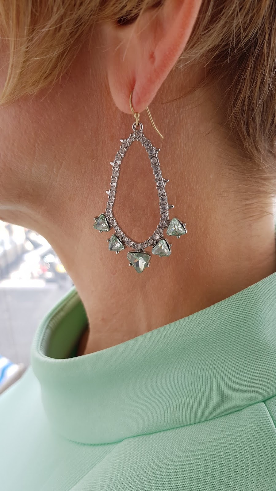 Drop earrings bought in Whitstable to match a mint mother of the bride dress