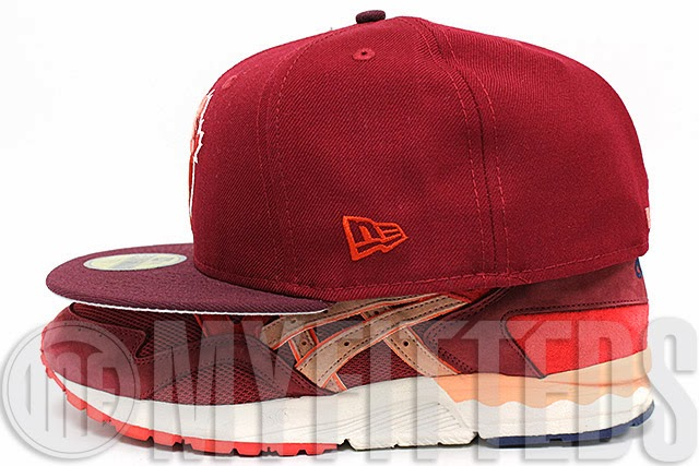 6dc1b6289b36 Here s the New Era 59FIFTY Toronto Blue Jays Fitted in the Cardinal Red Wine-Maroon-Brick-Rose-White  colorway. This hat features a two tone look where the ...