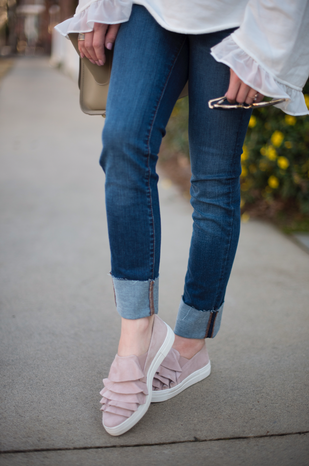 Ruffle Blush Sneakers - Something Delightful Blog