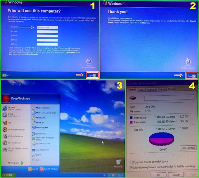 Penyelesaian dan Proses Akhir pada Instalasi menggunakan Win Xp