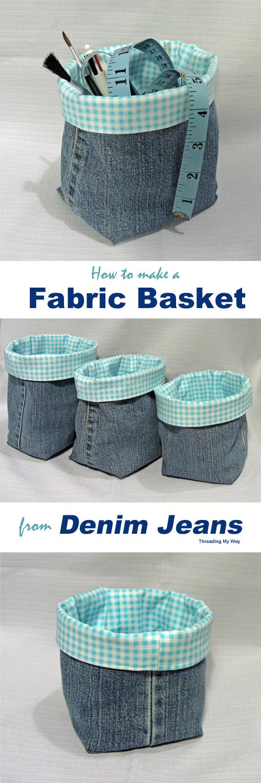 Threading My Way Denim Fabric Baskets Tutorial
