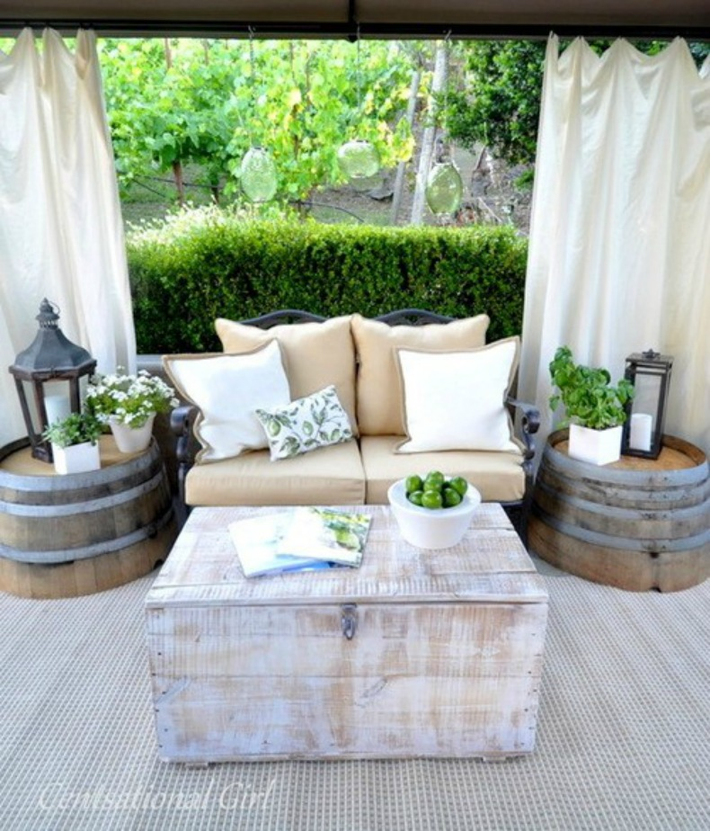 Coastal outdoor lounge with drapes