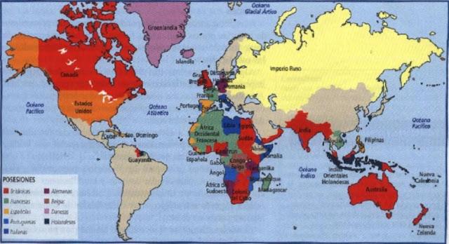 Resultado de imagen de mapa de las colonias a principios del siglo XX