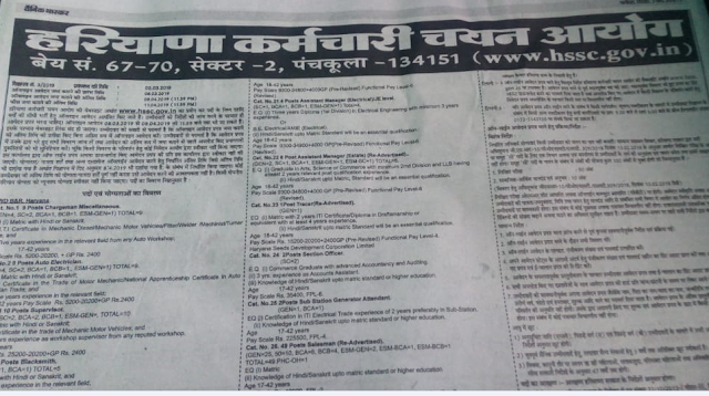 New Vacancy In Haryana- 2019 HSSC.Gov.In