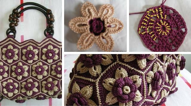 Bolso con Grannys Hexagonales a Crochet