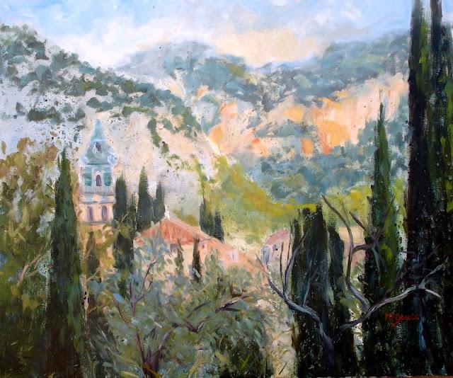 Marga F. García, Paisaje de Valldemosa, Mallorca en Pintura, Paisajes de Mallorca, Mallorca pintada