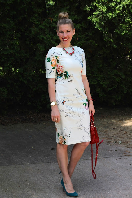 white floral tee length dress, red Dooney Burke bag, teal heels