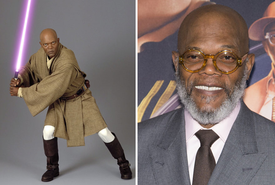 Samuel L Jackson As Mace Windu, 2005 And 2015