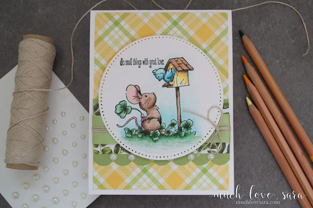 This adorable hand colored card, features the Storybook Occasions stamp set from Fun Stampers Journey.  The image was colored in with Journey ColorBurst pencils.
