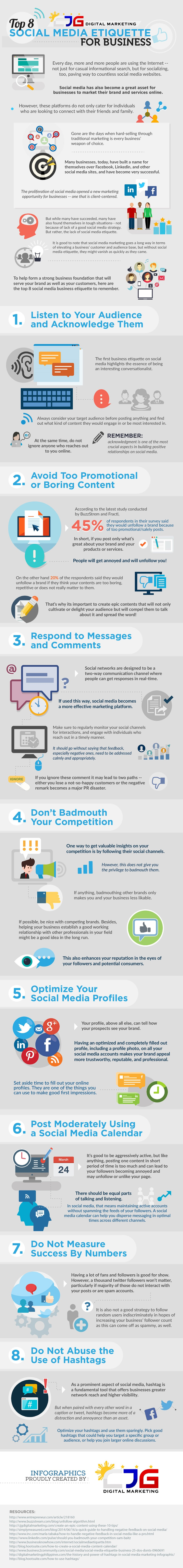 Top 8 Social Media Etiquette for Business - #Infographic