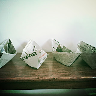 Paper boats ready to sail