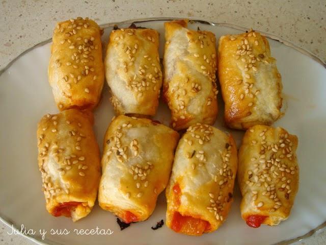 Saladitos de tomate frito y bacon o chorizo. Julia y sus recetas