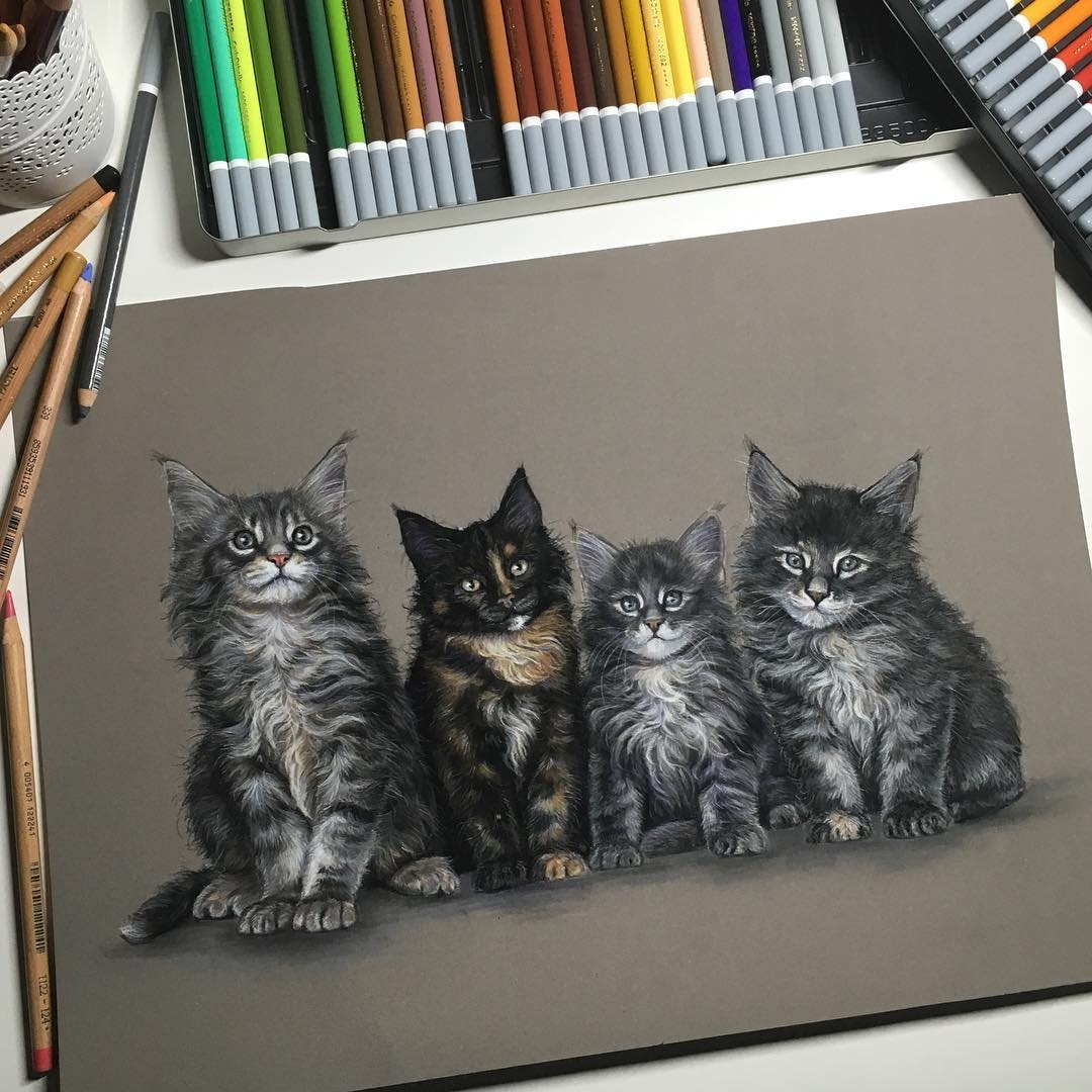 13-Little-Cat-Family-Tatjana-Bril-Domestic-and-Wild-Animal-Drawings-www-designstack-co