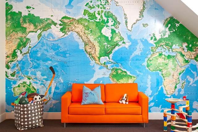 barntapet världskarta tapet barnrum