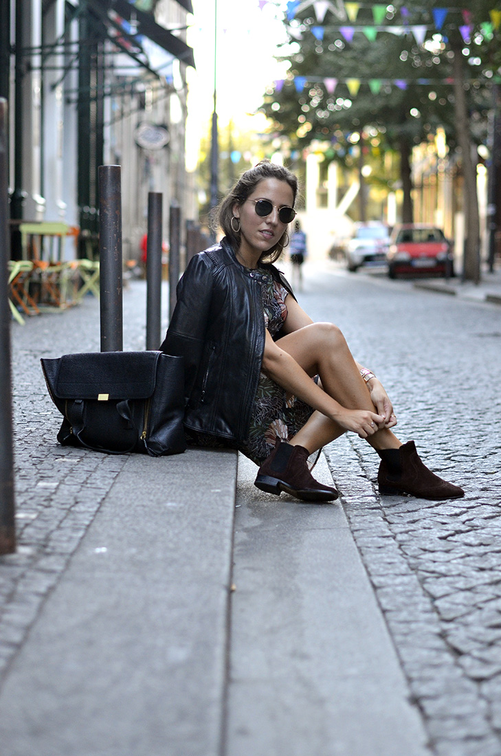 Streetstyle Porto downtown - flower see through dress, ankle boots, salsa biker, phillip lim bag