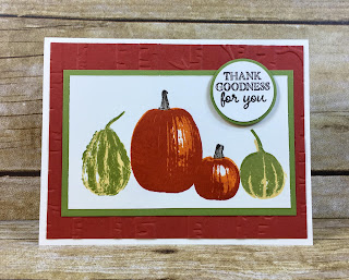 This fall card uses Stampin' Up!'s Gourd Goodness stamp set and the Woodland embossing folder.  We stamped in Cajun Craze, Pumpkin Pie, Old Olive, So Saffron, and Early Espresso!  #stampinup #stamptherapist www.stamptherapist.com