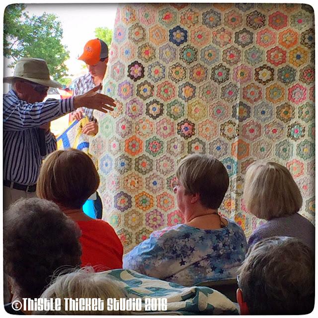Thistle Thicket Studio, antique quilt, grandmother's flower garden quilt, quilts, quilting, 30s quilt