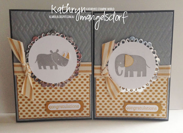 Stampin' Up! Zoo Babies, baby card by Kathryn Mangelsdorf
