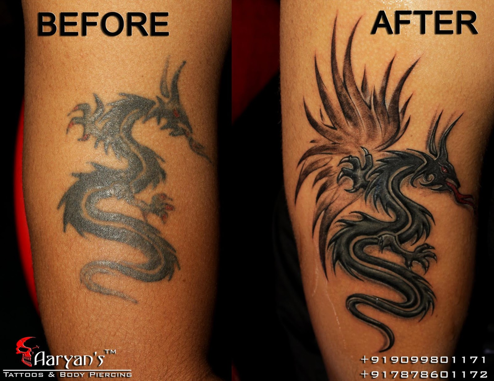 Best before after tattoo by aaryans tattoos in ahmedabad for Tattoo apprenticeship programs