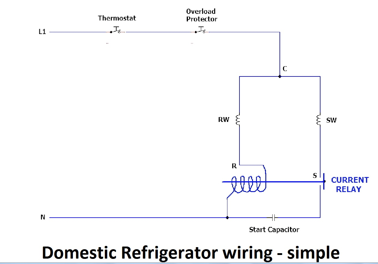 Domestic refrigerator - simple electrical wiring diagram