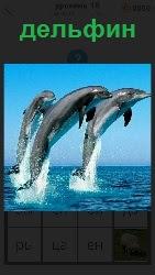 460 слов 4 Из воды на большую высоту выскочили три дельфина. Синхронно выполняют трюк по команде 18 уровень