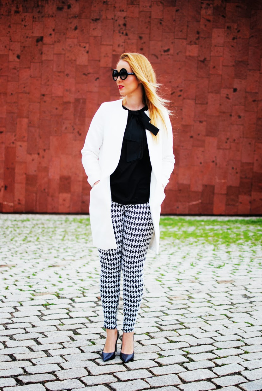nery hdez, zerouv sunglasses, anillo vjstyle,pata de gallo, houndstooth print, white coat, zara shoes