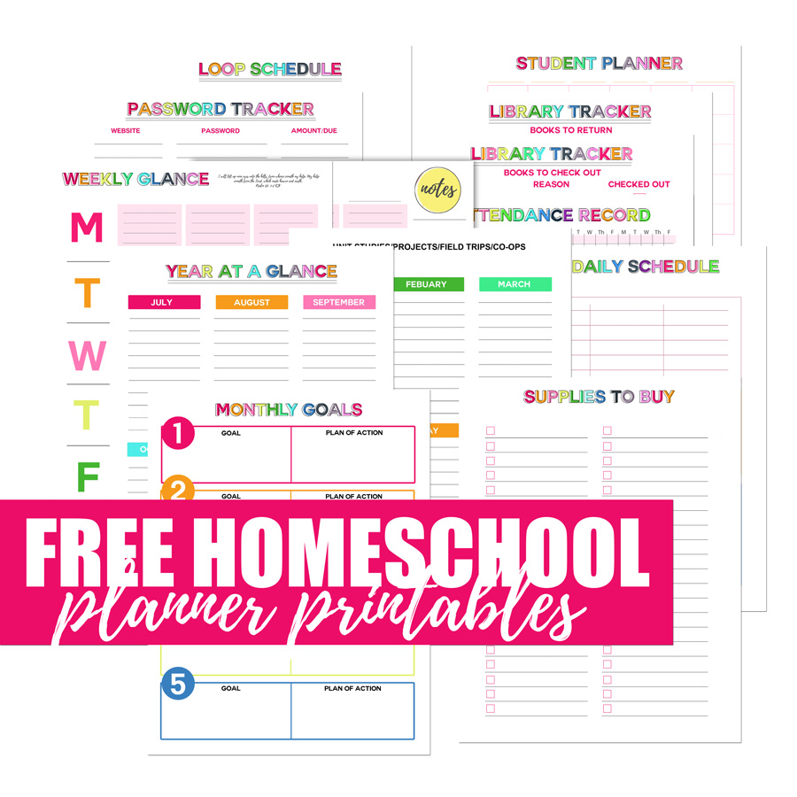 It's just a picture of Clean Free Printable Homeschool Planner