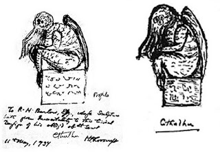 Un dessin de Cthulhu par Lovecraft