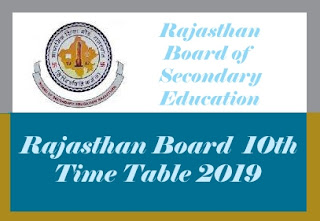 Rajasthan Board Time table 2019, 10th Board Time table 2019 Rajasthan, BSER 10th Time table 2019, Rajasthan 10th Time table 2019