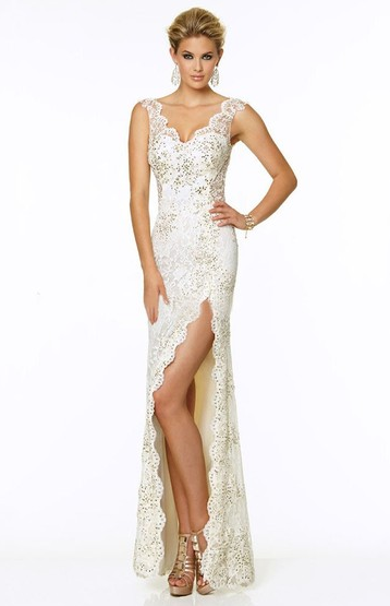 White Lace Sexy Split Front Prom Dresses
