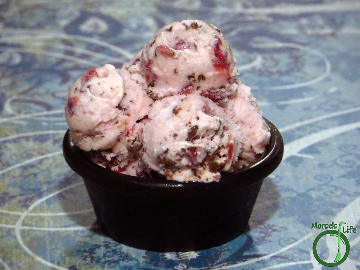 Morsels of Life - Chocolate Pomegranate Ice Cream - Deliciously tart pomegranate combined with luxurious dark chocolate for one exquisite chocolate pomegranate ice cream.