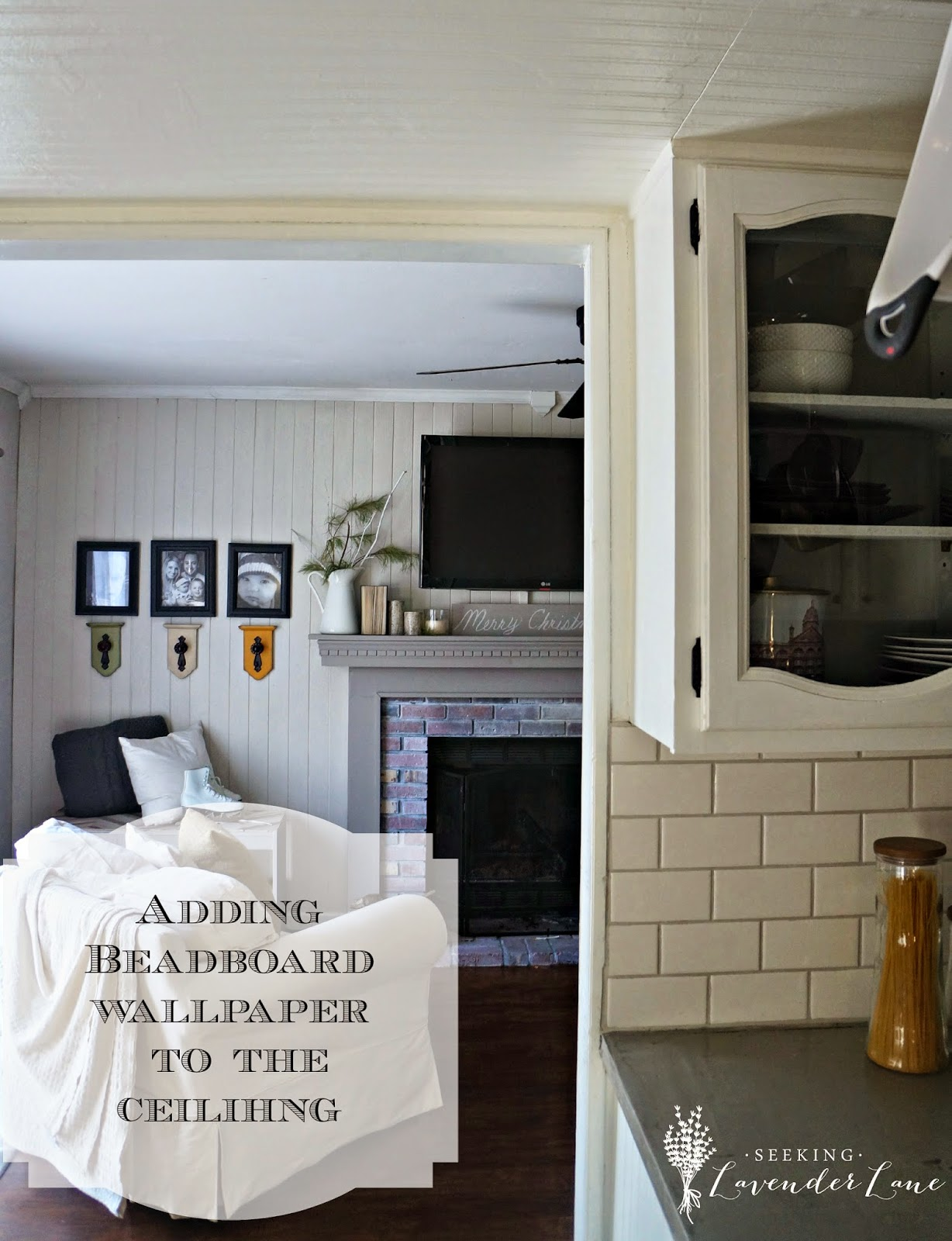 Adding Beadboard Wallpaper to our Kitchen Ceiling - Seeking Lavendar on beadboard kitchen walls, beadboard butcher block kitchen, beadboard kitchen cabinets,