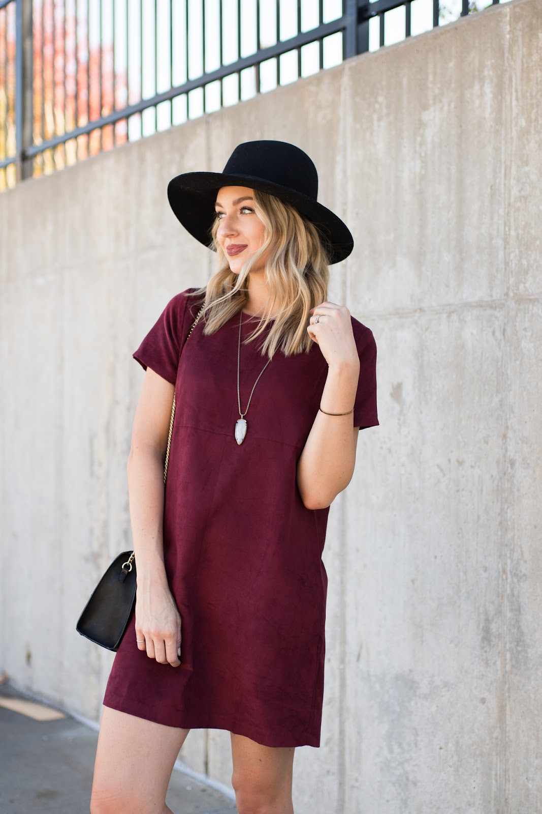 Suede dress for fall